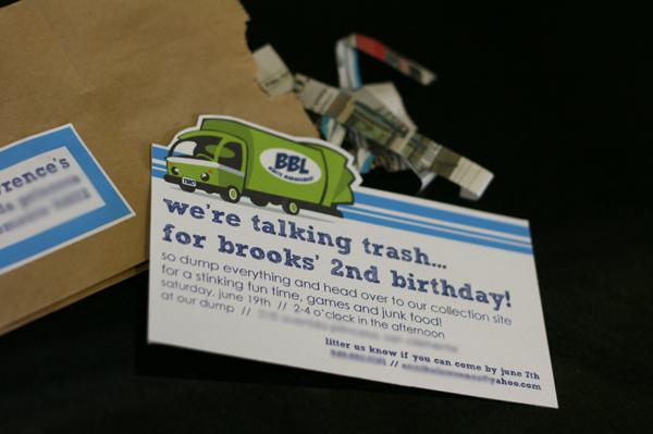 2nd Birthday Party Trash Theme – Garbage Truck Birthday Invitations