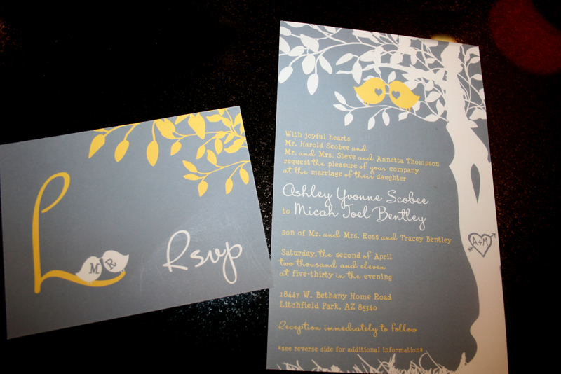 Wedding Invitation Grey Yellow Birds Cakes Likes A Party