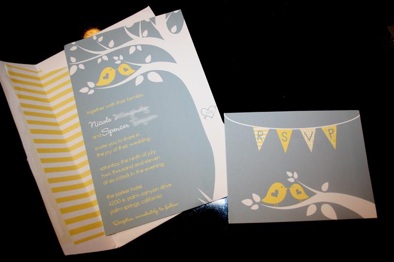 Yellow Grey Wedding Invitations: Wedding Invitation :: Grey & Yellow Birds