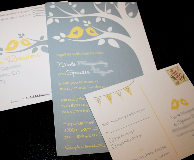 Wedding Invitation :: Grey & Yellow Birds | cakes likes a party