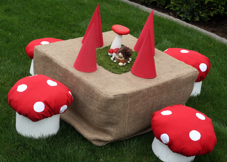 She Made Those Mushrooms From Paper Mache Cylinder Boxes. She Sewed The  Mushroom Cap On Top And They Were Just Too Cute For Words. Four Gnome Hats  On Top ...