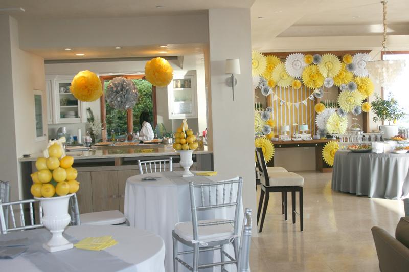 Wedding Reception :: Yellow & Gray & Lemonade! | cakes likes a party