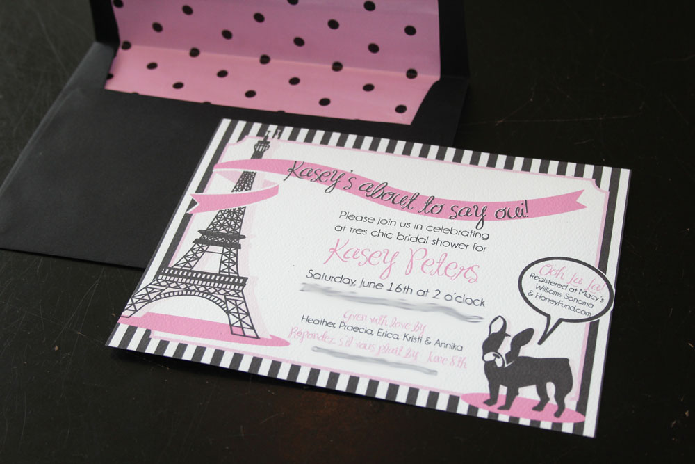 ooh la la my friend kasey is set to walk down the aisle in a few more weeks and to celebrate we brought paris to california the invites available in the